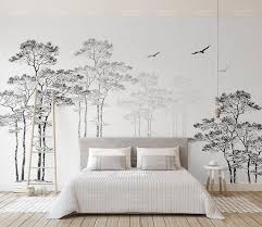3d Black White Abstract Forest Birds Removable Wallpaperpeel Etsy Bedroom Wall Bedroom Wall Art Wall Murals