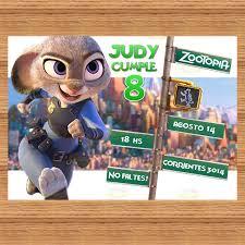 Zootopia Kit Imprimible Invitaciones De Cumpleanos Tarjetas