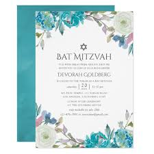 Dusty Blue And Turquoise Floral Bat Mitzvah Invitation Zazzle