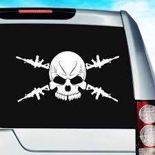 Skull Machine Guns Vinyl Car Window Decal Sticker