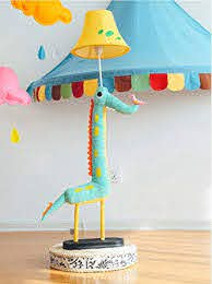 Amazon Com Litfad Dimmable Floor Lamp Cartoon Crocodile Design 51 Tall Standing Modern Light With Fabric Shade For Kids Room Bedroom Green Arts Crafts Sewing