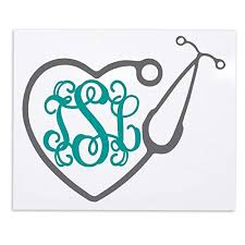 Amazon Com Rn Bsn Lpn Cna Lpn Np Nurse Heart Stethoscope Vine Monogram Decal Sticker For Tumblers Laptops Clipboards Planners Etc Handmade