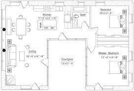 u shaped house floor plan 2 bedroom