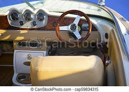 closeup of cockpit of luxury yacht