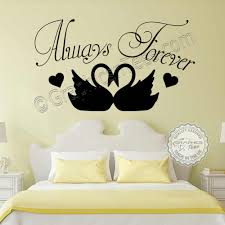Always Forever Romantic Bedroom Wall Sticker Quote With Swans Decor Decals
