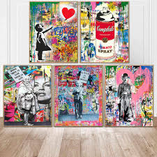 Girl With Balloon Street Wall Graffiti Art Canvas Paintings Abstract Einstein Pop Art Canvas Prints For Kids Room Decor No Frame Aliexpress