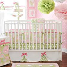 pink and green paisley crib bedding