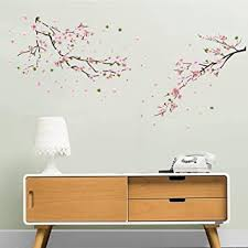 Amazon Com Ufengke Flower Peach Blossom Wall Stickers Tree Branch Wall Decals Art Decor For Bedroom Living Room Furniture Decor