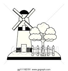 Vector Art Windmill Tree And Fence Farm Clipart Drawing Gg111182791 Gograph