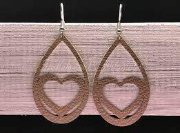teardrop heart faux leather earrings