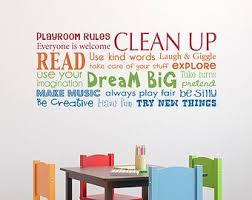 Playroom Rules Decal Have Fun Read Dream Big Make Music Multiple Color Version Horizontal Large Playroom Rules Playroom Wall Decals