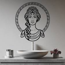 Greek Girls Face Vinyl Wall Decal Greece Ornament Beautiful Woman Goddess Stickers Sacred Home Decor Decals Big Size Lc1524 Leather Bag