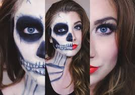 easy half skull makeup tutorial