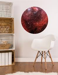 Red Galaxy Circle Wall Decal Sticker Nebula Space Circle Print Etsy