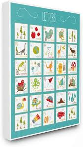 Amazon Com The Kids Room By Stupell Kids Alphabet Letter Chart Aqua Oversized Stretched Canvas Wall Art 24 X 1 5 X 30 Proudly Made In Usa Baby