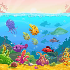 funny cartoon underwater scene