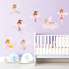 Amazon Com Ufengke Flower Fairies Wall Stickers Pink Heart Wall Decals Art Decor For Girls Room Nursery Kids Bedroom Furniture Decor