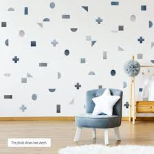 Geometric Watercolor Decals Gray Blue Wall Decals Peel And Stick Shapes Not Wallpaper