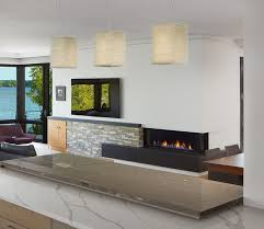 large wall with a linear fireplace