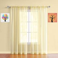 Amazon Com Warm Home Designs Pair Of Long Length Light Yellow Sheer Window Curtains Each Voile Drape Is 56 X 96 Inches In Size Great For Living Or Kids Room 2 Voile Fabric