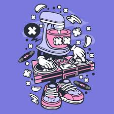 dj mixer cartoon premium vector