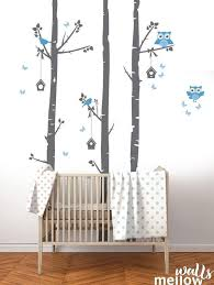 Birch Tree Wall Decal Owls And Birdhouse Colorful Wall Decals Etsy