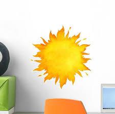 Yellow Watercolor Burning Sun Wall Decal Wallmonkeys Com