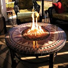 round mosaic tile patio table fire pit