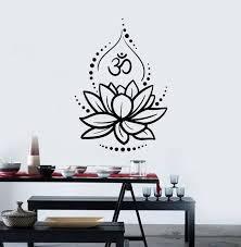 Lotus Vinyl Wall Decal Flower Om Sign Hinduism Yoga Meditating Etsy