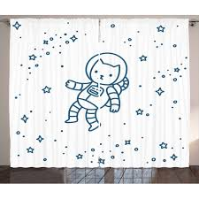 Kids Curtains 2 Panels Set Cute Cartoon Astronaut Pioneer Cat Flying In Outer Space Doodle Style Constellation Window Drapes For Living Room Bedroom 108w X 84l Inches Dark Blue By Ambesonne