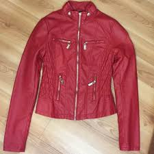 guess red leather jacket guess red
