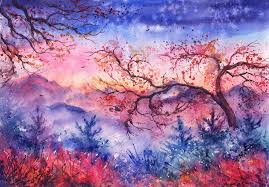 sunset mounns trees trees