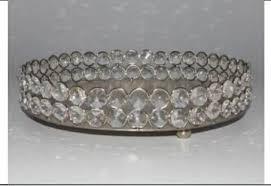 silver round mirror tray size 6