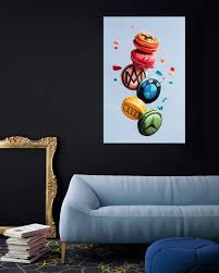 Wall Art Decor Designer Car Brands Macarons Kitchen Wall Etsy In 2020 Wall Art Decor Art Decor Wall Art