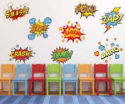 Fabric Superhero Comic Book Words Pow Zap Boom Smash Wall Etsy