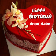 happy birthday red heart love cake pic