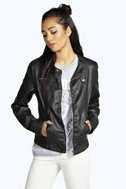 boohoo vicky collarless faux leather