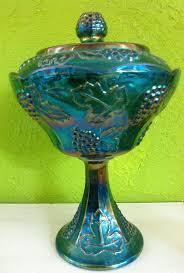 vintage iridescent blue carnival glass