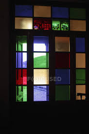 stained glass in window frame