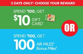 sobeys 10 gift card or 100 bonus air