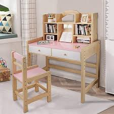 Amazon Com Igetely Kid Desk And Chair Set Large Wooden Student Table With Drawers Hutch Bookstand Bookshelves Kids Bedroom Desk Furniture For Student Study Writing Playing Computer Workstation Kitchen Dining