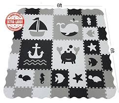 Baby Play Mat With Fence Extra Large 6ftx6ft Interlocking Foam Mat For Kids With Sea Creatures Patterns Crawling Mat Baby Play Mat Baby Gym Mat Play Mat