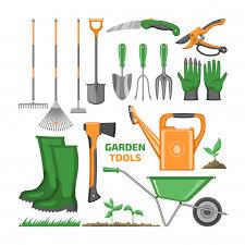 gardening equipment rake shovel trowel