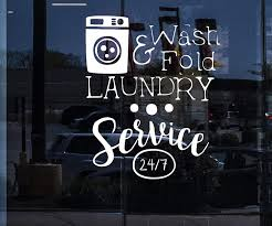 Amazon Com Window Vinyl Decal Wall Sticker Sign Laundry Dry Cleaning Service Washing Machine Unique Gift N899w White 22 5 In X 27 In Home Kitchen
