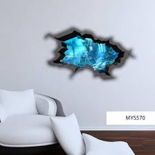 Wall Decals 3d Cracked Sea Cave Hole Full Colour Fish Aquarium Etsy Wall Decals Cracked Wall Sea Life Wall Art
