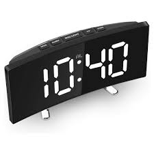 Digital Alarm Clock 7 Inch Curved Dimmable Led Screen Digital Clock Kids Bedroom Green Large Number Clock Display Office Home Decorations Sale Banggood Com