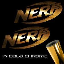 2x Nerf Decal Stickers 3 0 X 1 4 Metallic Gold Chrome Logo Ebay