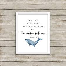 Jonah 2 2 Wall Art Bible Verse Wall Art He Answered Me Wall Etsy
