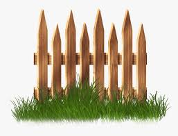wooden garden fence with grass png