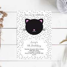 Kitty Cat Birthday Girl Printable Invitation Gatos Cumpleanos